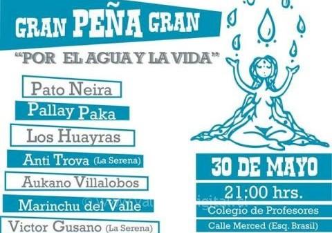 Este viernes realizarán peña artística por el agua