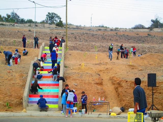 Recuperan escalinata Río del Carmen en sector Vista Alegre de Vallenar