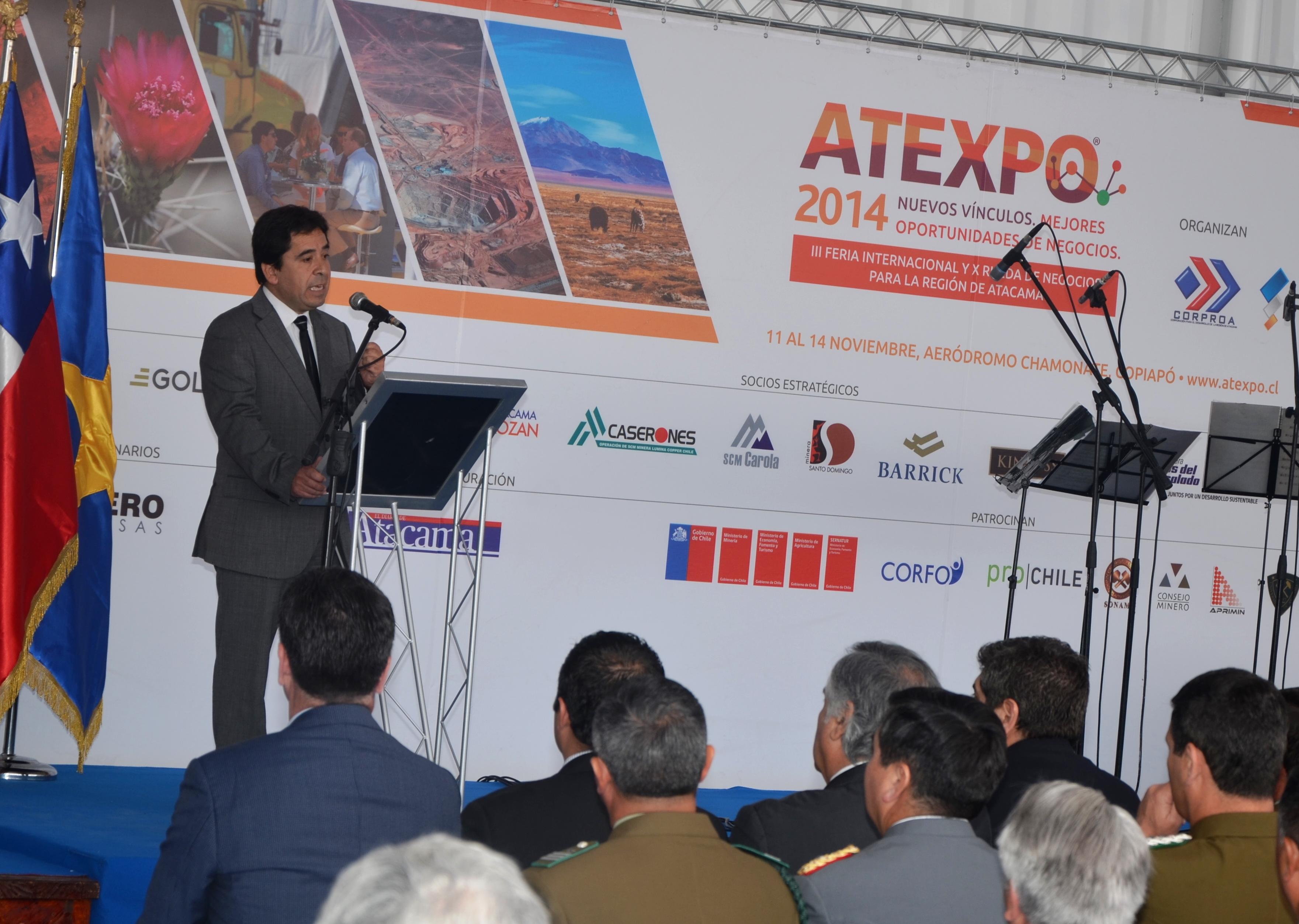 """Intendente en Atexpo: """"Atacama es y seguirá siendo la región con mayores oportunidades para invertir en Chile"""""""