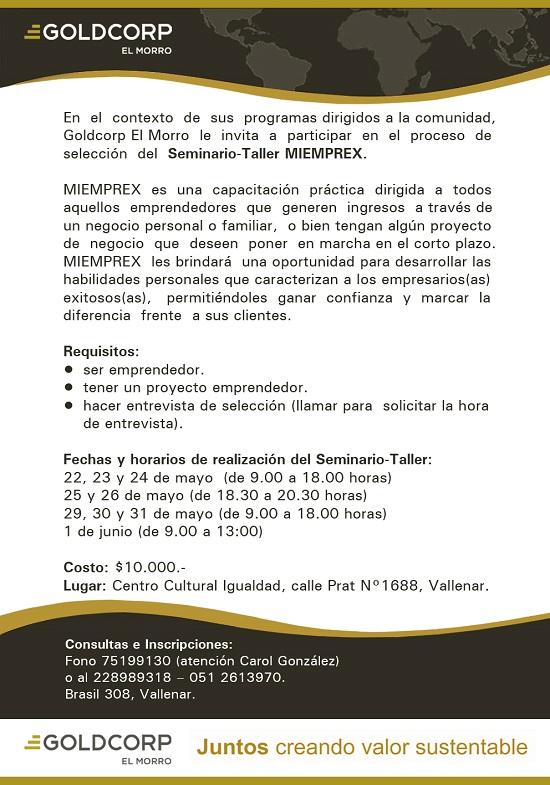 Aviso convocatoria Miemprex 2015 Goldcorp El Morro