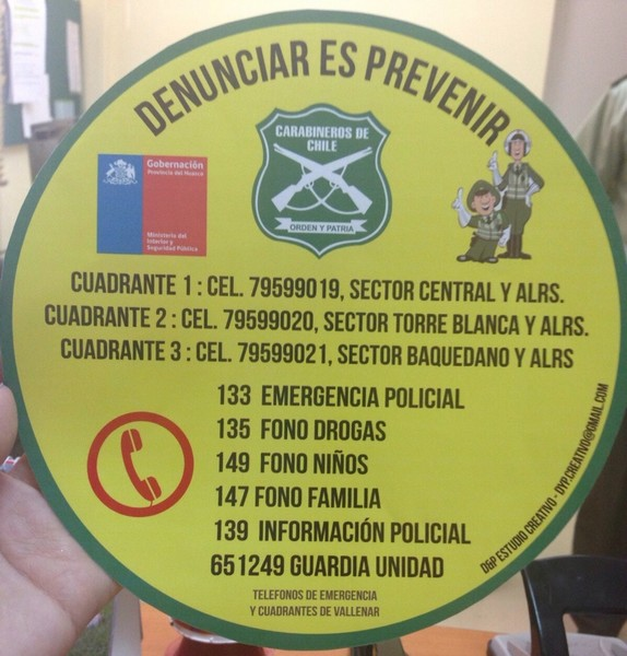 AQUÍ: Conozca los números celulares del Plan Cuadrante en Vallenar