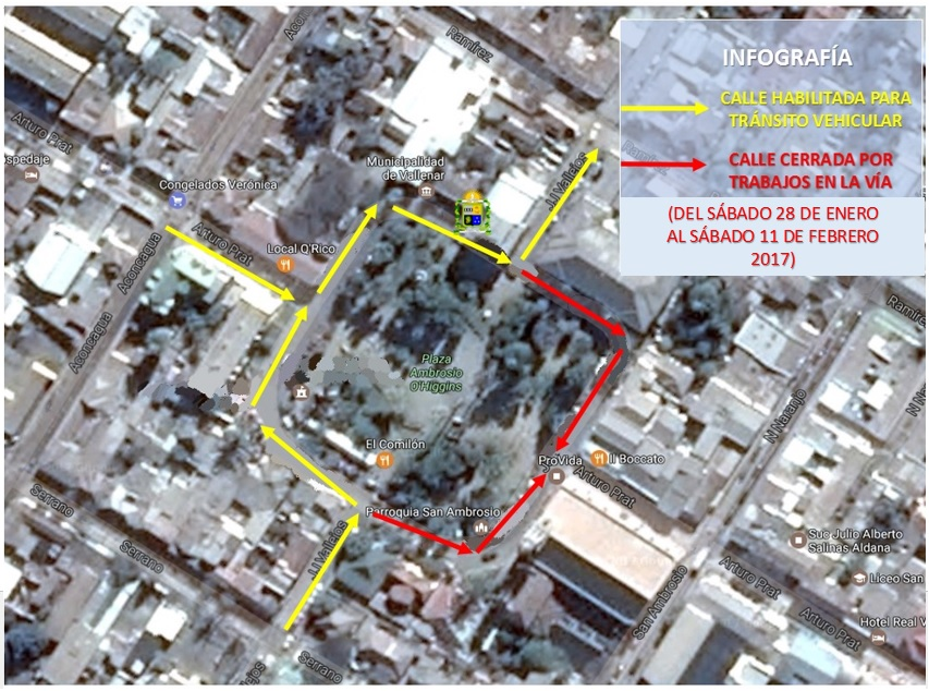 Cambio sentido de las calles en Plaza San Ambrosio de Vallenar por arreglo en pasos peatonales