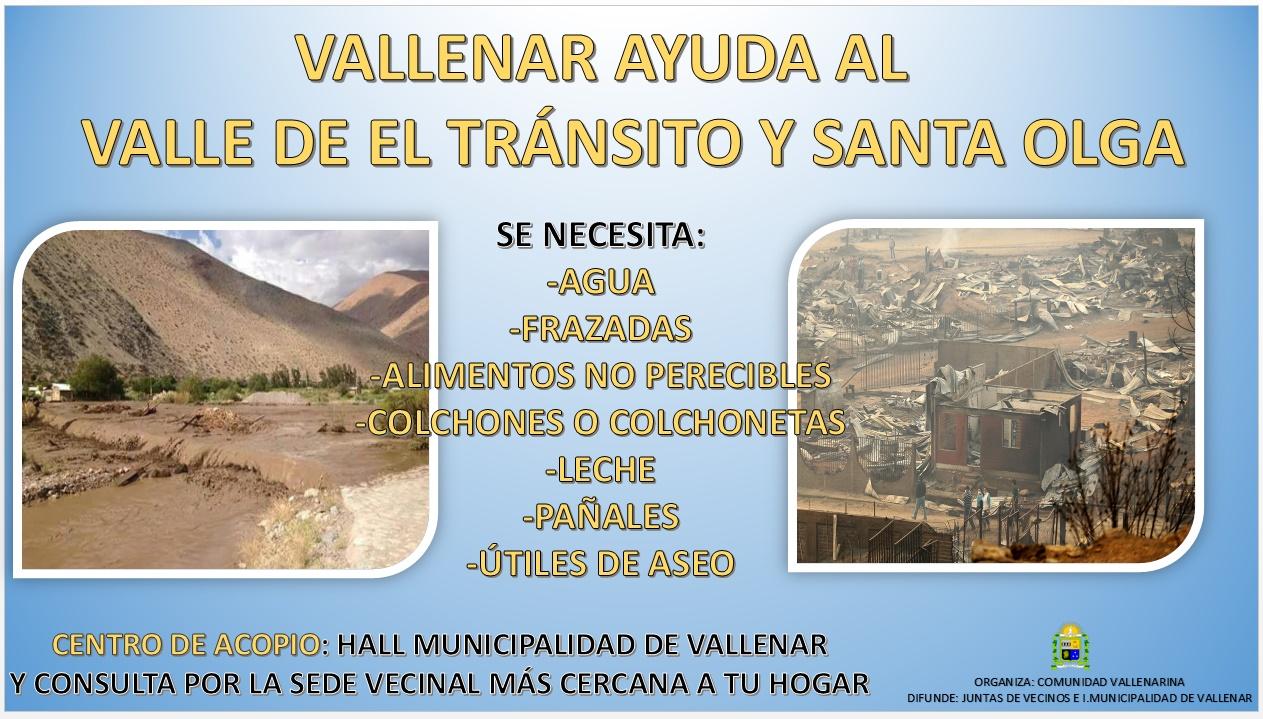 Comenzó Campaña Vallenar ayuda al Valle de El Tránsito y Santa Olga en Constitución