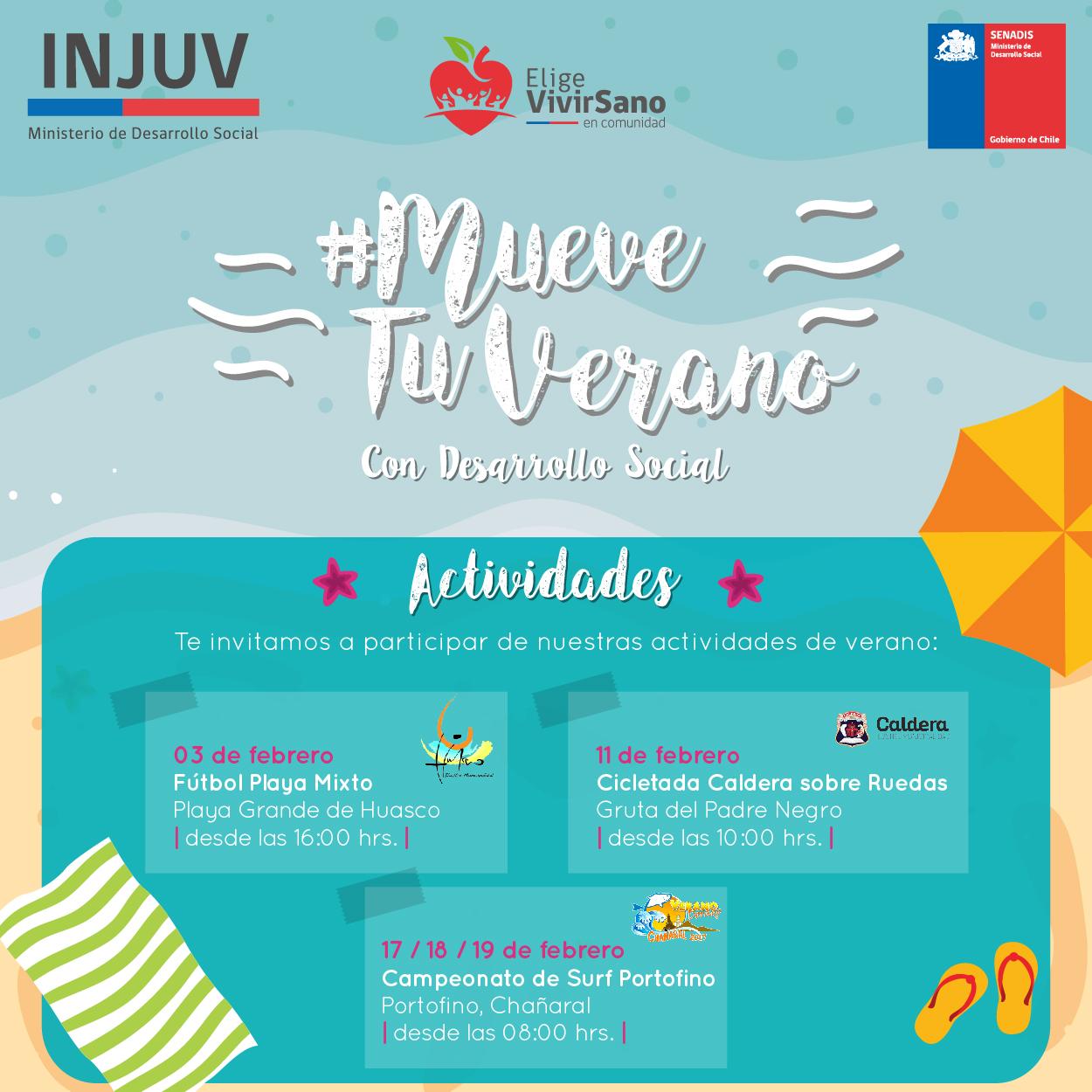 INJUV Atacama invita a #MoverTuVerano con Fútbol Playa, Cicletada y Surf