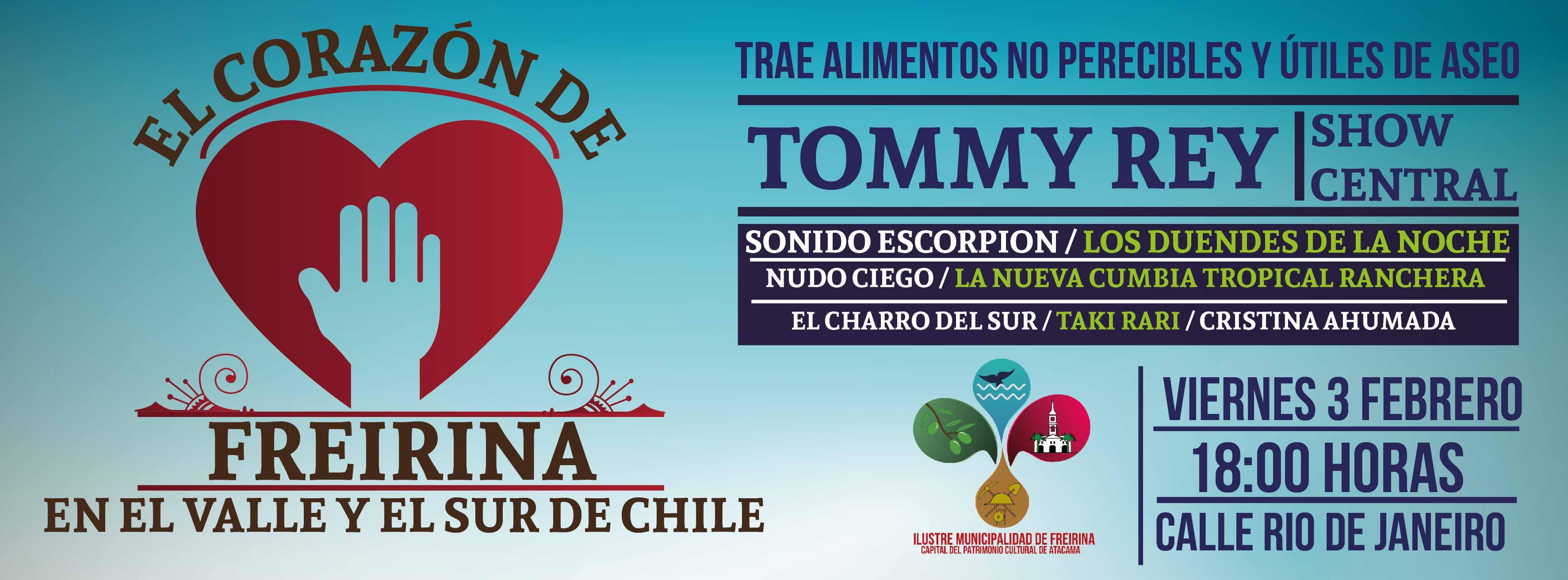 Tommy Rey llega este fin de semana a Freirina a evento solidario