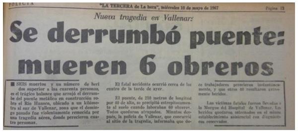 Caída del puente Huasco en Vallenar: este 9 de mayo se cumplen 50 años de la tragedia