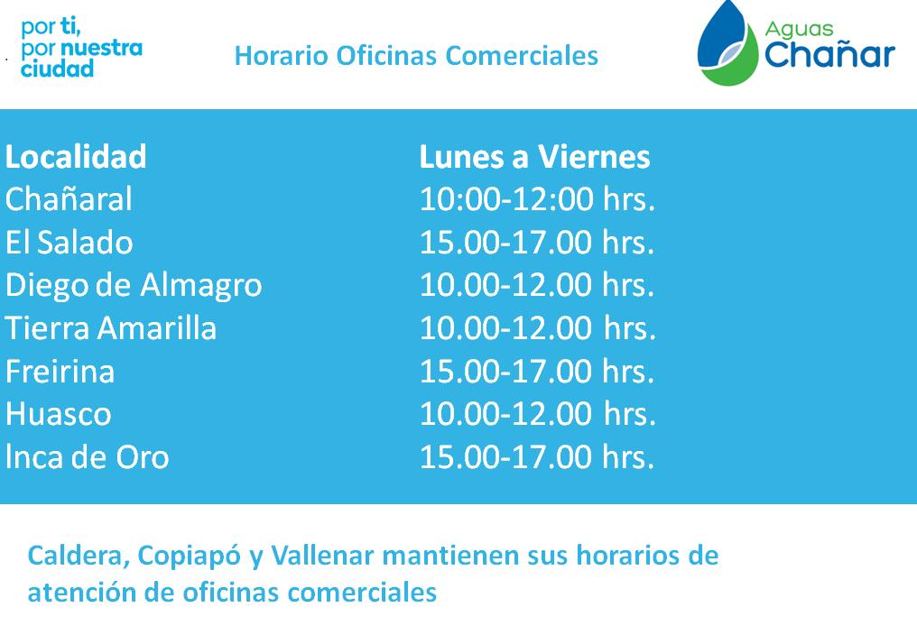 Aguas Chañar informa sobre nuevo horario de atención en oficinas comerciales