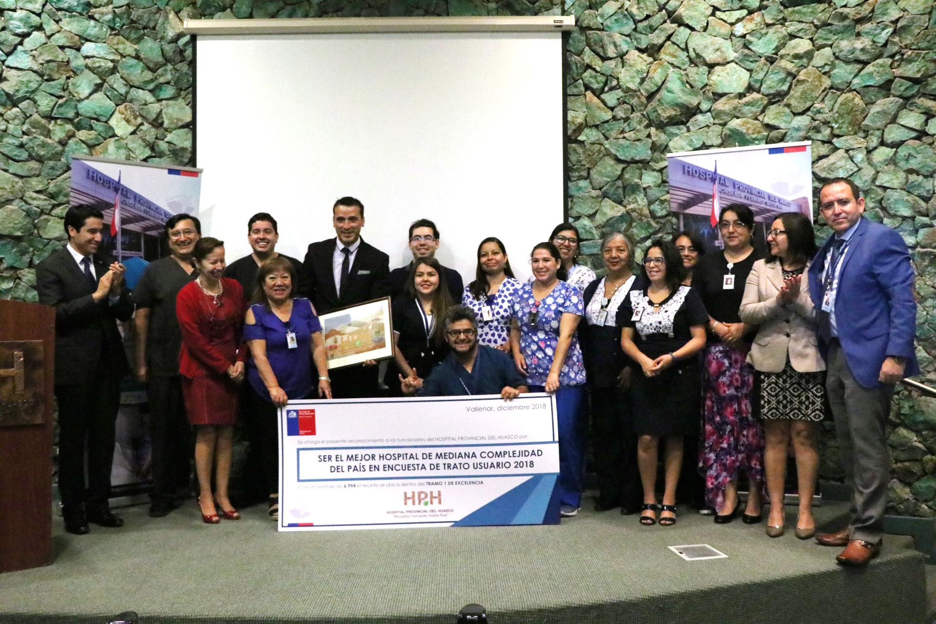 Entregan reconocimiento a Hospital Provincial del Huasco por ser recinto número 1 en Chile en atención de usuarios