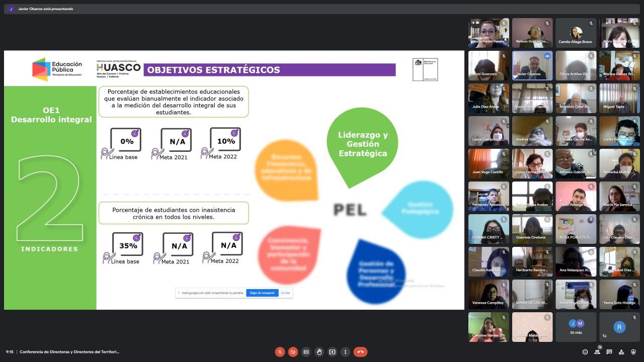Con gran participación de equipos técnicos pedagógicos se realizó una nueva versión de Conferencia de Directores y Directoras del SLEP Huasco
