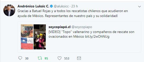 Embajador de Chile en México y Andrónico Luksic felicitan a topo vallenarino