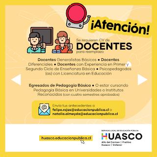 Servicio Local de Educación Huasco realiza llamado a presentar antecedentes para reemplazos de docentes en el territorio