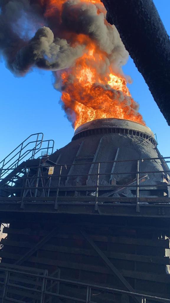 Incendio en chimenea en desuso de Planta de Pellets no dejó trabajadores lesionados