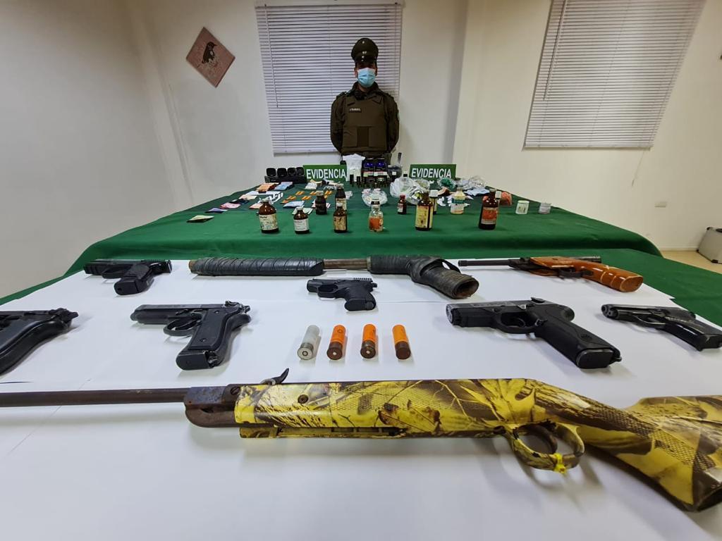 Vallenar: Investigación por microtráfico dejó imputados en prisión preventiva, la incautación de armas y precursores químicos