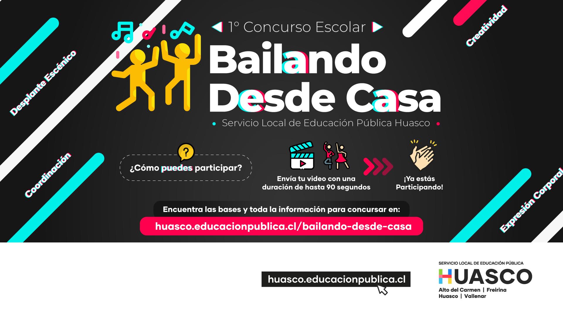 """Servicio Local Huasco invita a participar en el 1er Concurso Escolar """"Bailando desde Casa"""""""