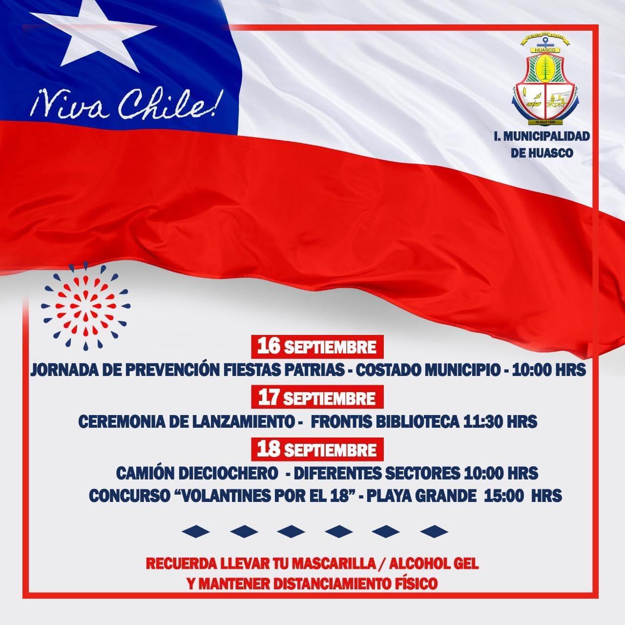 Huasco prepara actividades para celebrar fiestas patrias y alcalde hace un llamo a la responsabilidad y prudencia