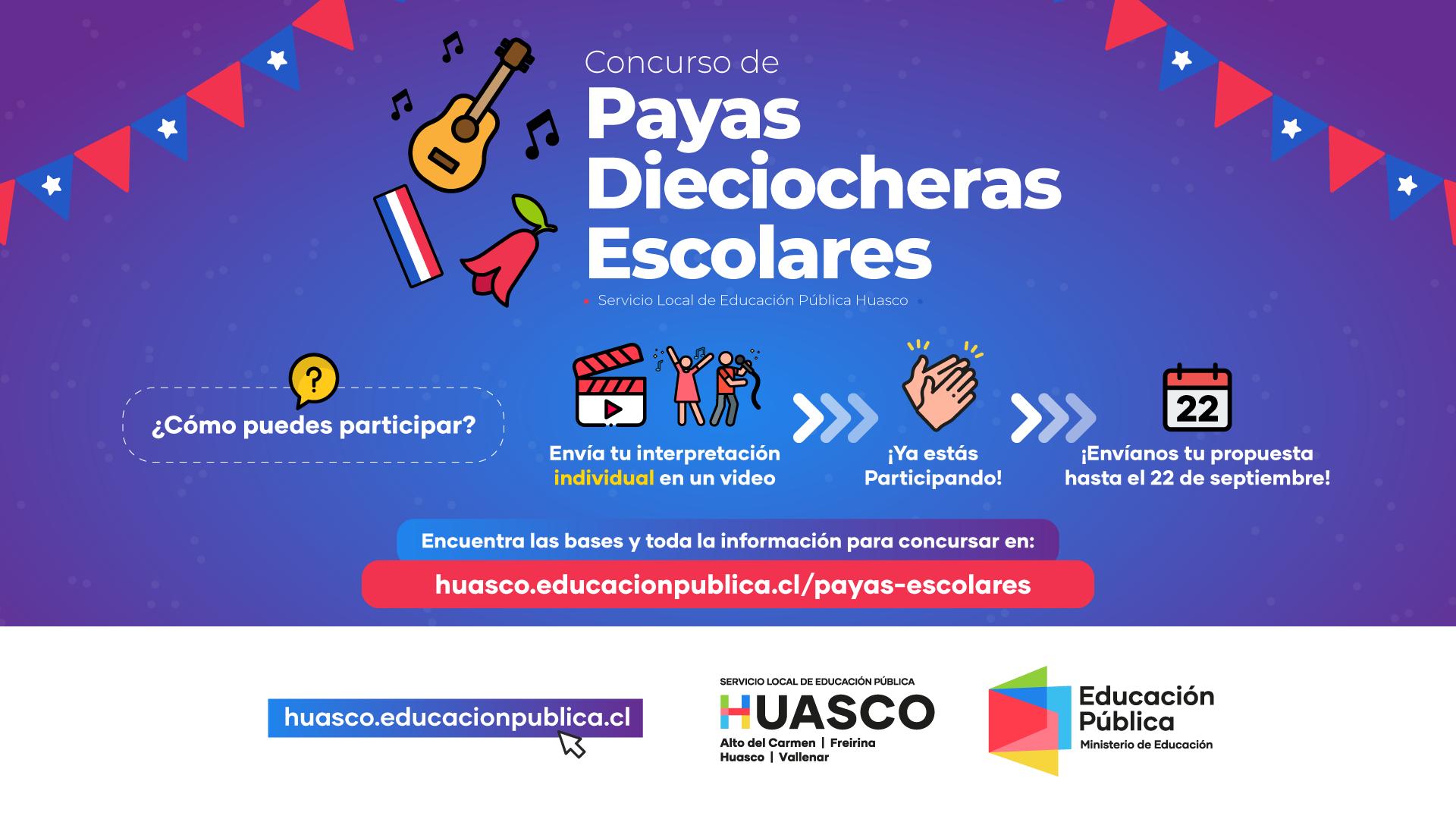 Servicio Local Huasco abre convocatoria para ser parte de concurso en Fiestas Patrias llamado Payas Dieciocheras Escolares